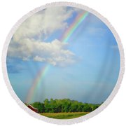 Rainbow On The Farm Round Beach Towel