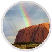 Rainbow On Uluru 2 Round Beach Towel