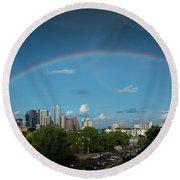 Rainbow Over Austin Round Beach Towel