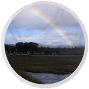 Rainbow Over Carmel Wetlands Round Beach Towel