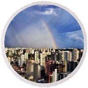Rainbow Over City Skyline - Sao Paulo Round Beach Towel