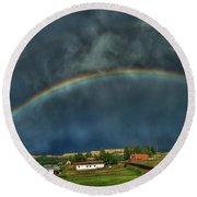 Rainbow Over Cripple Creek Round Beach Towel