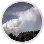 Rainbow Over Farm Round Beach Towel by Bonnie Willis