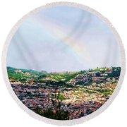 Rainbow Over Funchal Round Beach Towel