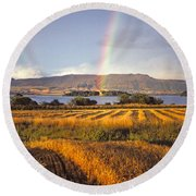Round Beach Towel featuring the photograph Rainbow Over Loch Leven  by Phil Banks