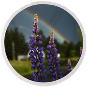 Rainbow Over Lupine  Round Beach Towel
