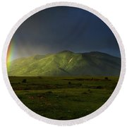 Rainbow Over Mount Ara After Storm, Armenia Round Beach Towel by Gurgen Bakhshetsyan