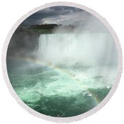 Rainbow Over Niagara Falls Round Beach Towel