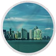 Rainbow Over Panama City Round Beach Towel