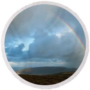 Rainbow Over Porlock Hill Round Beach Towel