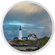 Rainbow Over Portland Head Light Round Beach Towel