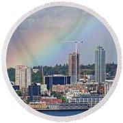 Rainbow Over Seattle Round Beach Towel