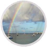 Rainbow Over Simpson Bay Saint Martin Caribbean Round Beach Towel