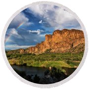 Round Beach Towel featuring the photograph Rainbow Over The Bulldogs  by Saija Lehtonen