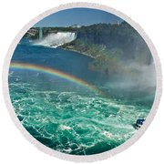 Rainbow Over The Falls Round Beach Towel