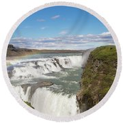 Rainbow Over The Gullfoss Waterfall In Iceland Round Beach Towel
