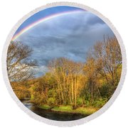 Round Beach Towel featuring the photograph Rainbow Over The River by Debra and Dave Vanderlaan