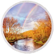 Round Beach Towel featuring the photograph Rainbow Over The River II by Debra and Dave Vanderlaan