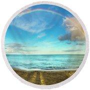 Rainbow Over Waikiki Beach Round Beach Towel