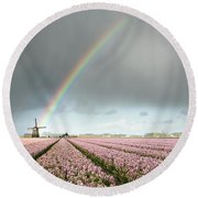 Rainbow Over Windmill And Flower Fields Round Beach Towel