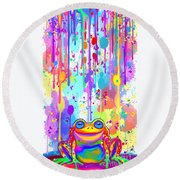 Round Beach Towel featuring the painting Rainbow Painted Frog  by Nick Gustafson