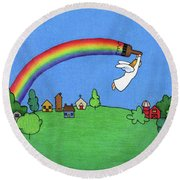 Rainbow Painter Round Beach Towel