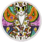 Rainbow Paisley Fairy Cat Round Beach Towel