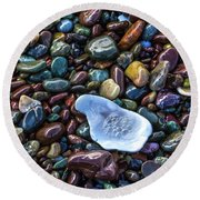 Rainbow Pebbles Round Beach Towel