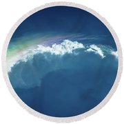Rainbow Peeking Round Beach Towel by Stefanie Silva