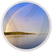 Rainbow Reflection Round Beach Towel