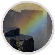 Rainbow Rocks Round Beach Towel