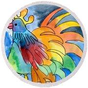 Rainbow Rooster Round Beach Towel