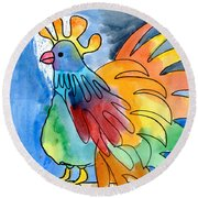 Rainbow Rooster Round Beach Towel