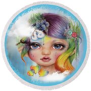 Round Beach Towel featuring the mixed media Rainbow Rosalie  by Sheena Pike