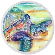 Rainbow Sea Turtle 2 Round Beach Towel