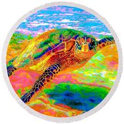 Rainbow Sea Turtle Round Beach Towel
