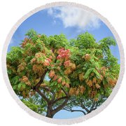 Round Beach Towel featuring the photograph Rainbow Shower Tree 1 by Jim Thompson