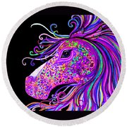Rainbow Spotted Horse Head 2 Round Beach Towel