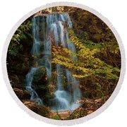 Rainbow Springs Waterfall Round Beach Towel