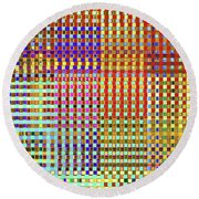 Rainbow Squared Tapestry Round Beach Towel by Ann Johndro-Collins