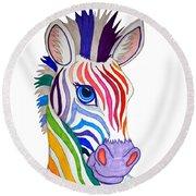 Rainbow Striped Zebra Round Beach Towel by Nick Gustafson