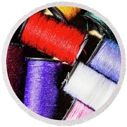 Round Beach Towel featuring the photograph Rainbow Threads Sewing Equipment by Jorgo Photography - Wall Art Gallery