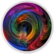 Round Beach Towel featuring the photograph Rainbow Through Curved Air by Mark Blauhoefer