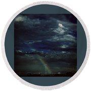 Rainbow Through The Storm  Round Beach Towel by Frank J Casella