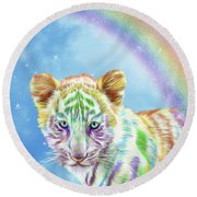 Round Beach Towel featuring the mixed media Rainbow Tiger - Vertical by Carol Cavalaris