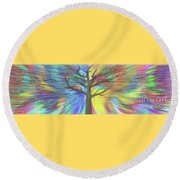 Round Beach Towel featuring the digital art Rainbow Tree By Kaye Menner by Kaye Menner