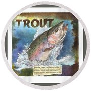 Round Beach Towel featuring the drawing Rainbow Trout by John Dyess