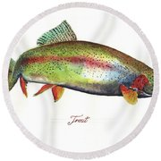 Rainbow Trout Round Beach Towel by Juan Bosco