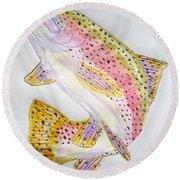 Rainbow Trout Presented In Colored Pencil Round Beach Towel by Scott D Van Osdol