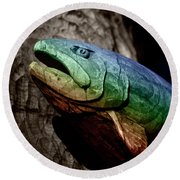 Round Beach Towel featuring the photograph Rainbow Trout Wood Sculpture by John Stephens